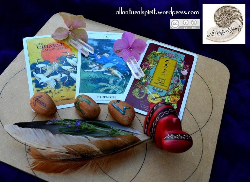 Runes, Tarot, Herbs, Crystals, Grid, Feathers, Flowers, Stone, African, Hippo, Strength, Mannaz, Peorth, Algiz, clear quartz, points