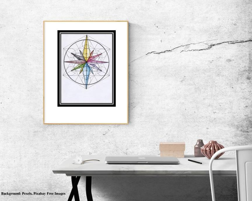 metatron, cube, sacred, geometry, compass, rose, sea, wind, directions, north, south , east, west, universal, metaphysical, properties, meaning, atoms, life, flower, tree, fruit, seed, frame, art, print, zazzle, thecathatter, all natural spirit