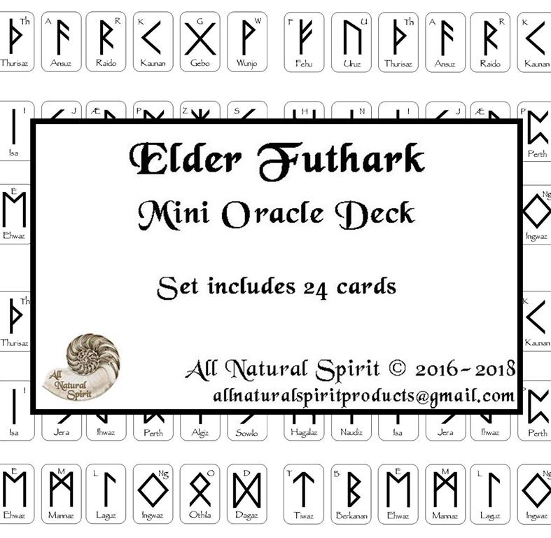 Micro, Small, Germanic, Viking, Norse, Oracle, Spiritual, Divination, Anglo, Saxon, Frisian, Script, Travel, All Natural Spirit, Rune, Elder Futhark, Runes, Mini, Card, Deck, Oracle, Bind, Rune