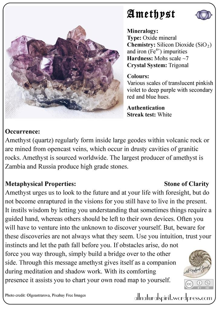 Crystal Lore #4: Amethyst – Free Oracle Card