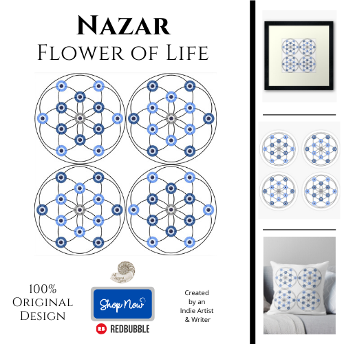 nazar, flower of life, protection, protective, symbol, evil eye, digital, ward, all natural spirit, redbubble