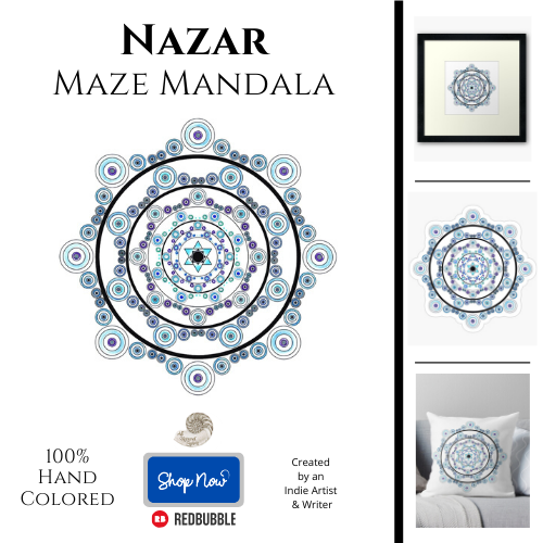 nazar, maze, mandala, protection, protective, symbol, evil eye, digital, ward, all natural spirit, redbubble