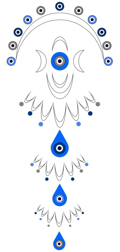 nazar, moon, triple goddess, number 3, protection, protective, symbol, evil eye, digital, ward
