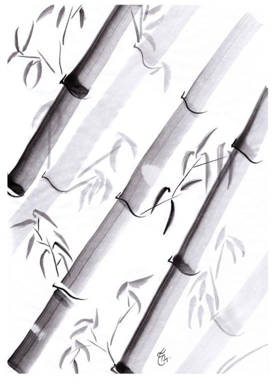 Japanese Ink Wash Technique, Sumi-e, All Natural Spirit, Suiboku, Suibokuga, The Four Gentlemen, Bamboo