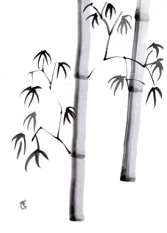 Japanese Ink Wash Technique, Sumi-e, All Natural Spirit, Suiboku, Suibokuga, The Four Gentlemen, Bamboo