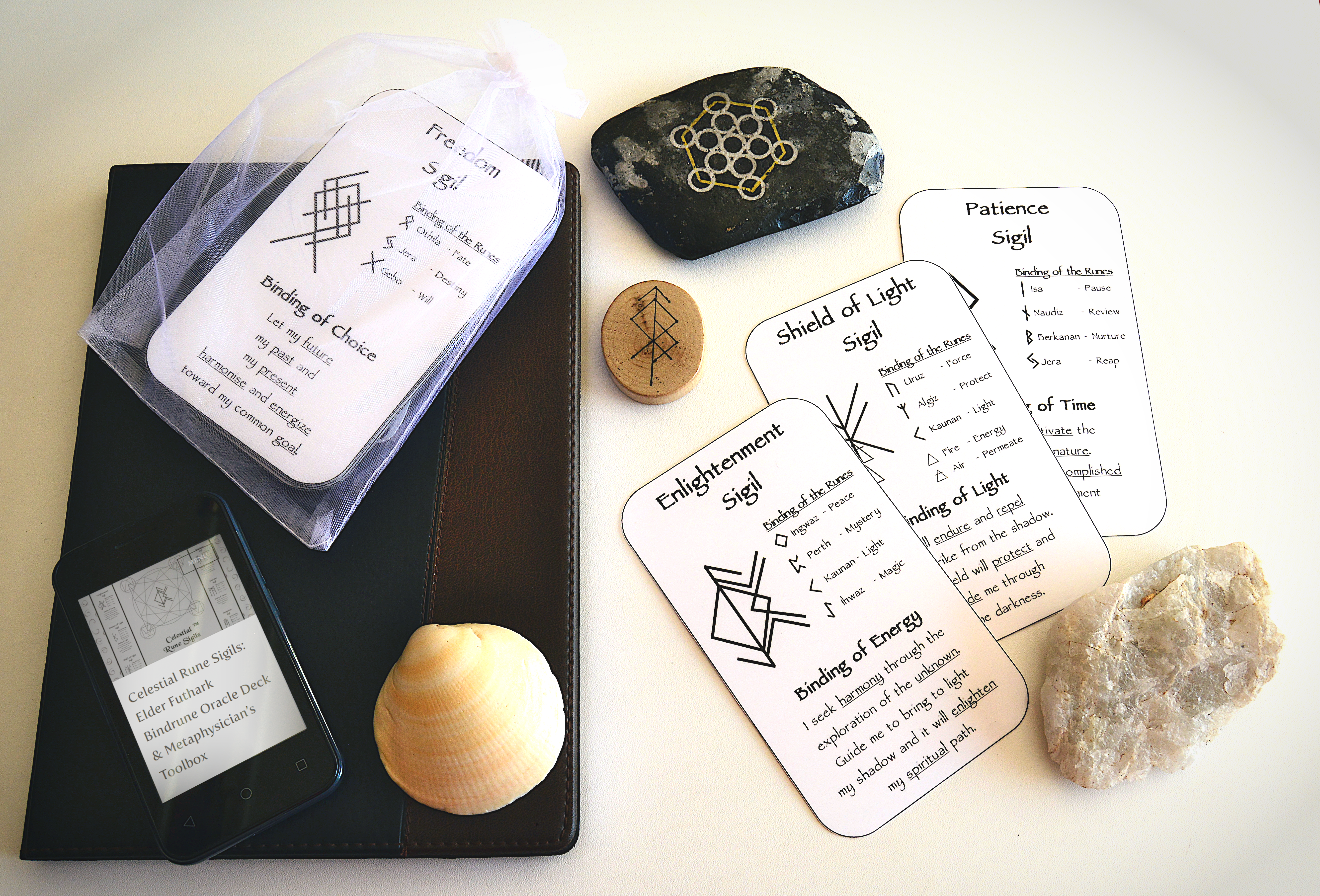Celestial Bindrune Sigils, Cards, Real Life, Photo, Crystal, book, shell, stone, smart phone, Elder, Futhark, bindrune, Anglo, Saxon, Frisian, Viking, Norse, Germanic, Scandinavian, Divination, Oracle, Cards, Metaphysician, Toolbox, Magick, Galdur, Cards Only Option, Bind, Rune, Make Playing Cards, All Natural Spirit
