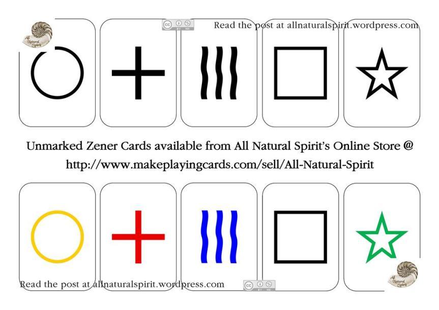 Unmarked Zener Cards Black and White Colour Poker Pocket All Natural Spirit