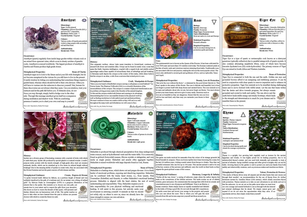 Free Oracle Cards for 2018 by All Natural Spirit allnaturalspirit.wordpress.com online, Crystals, Crystal Healing, Amethyst, Tiger Eye,Malachite, Spirit Animal, Guides, Octopus, Spider,Turtle, Herbal, Totems, Rose, Resurrection Plant,Thyme