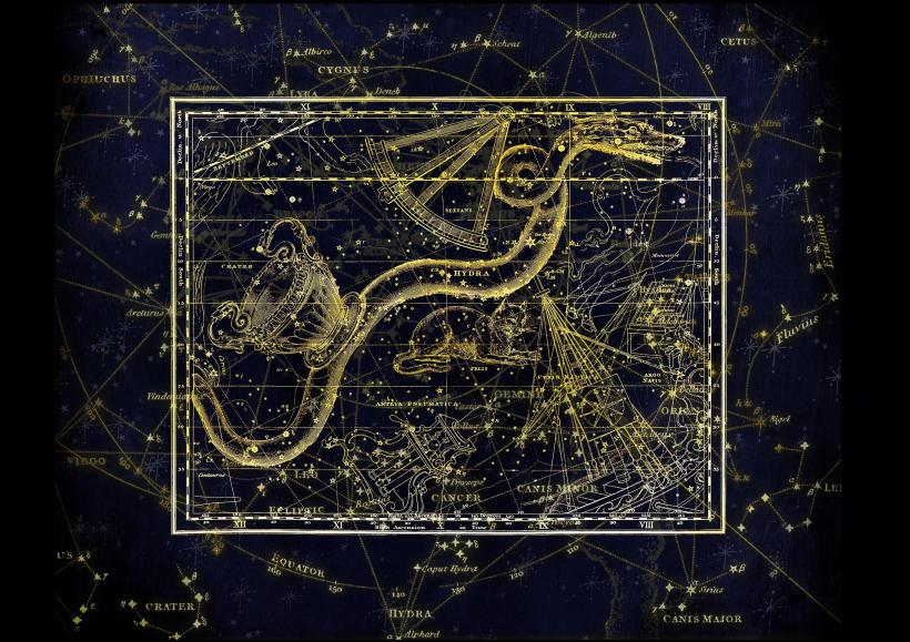 Hydra Constellation The Water Snake Astronomy Starts Gold Night Sky Blue Black Dark