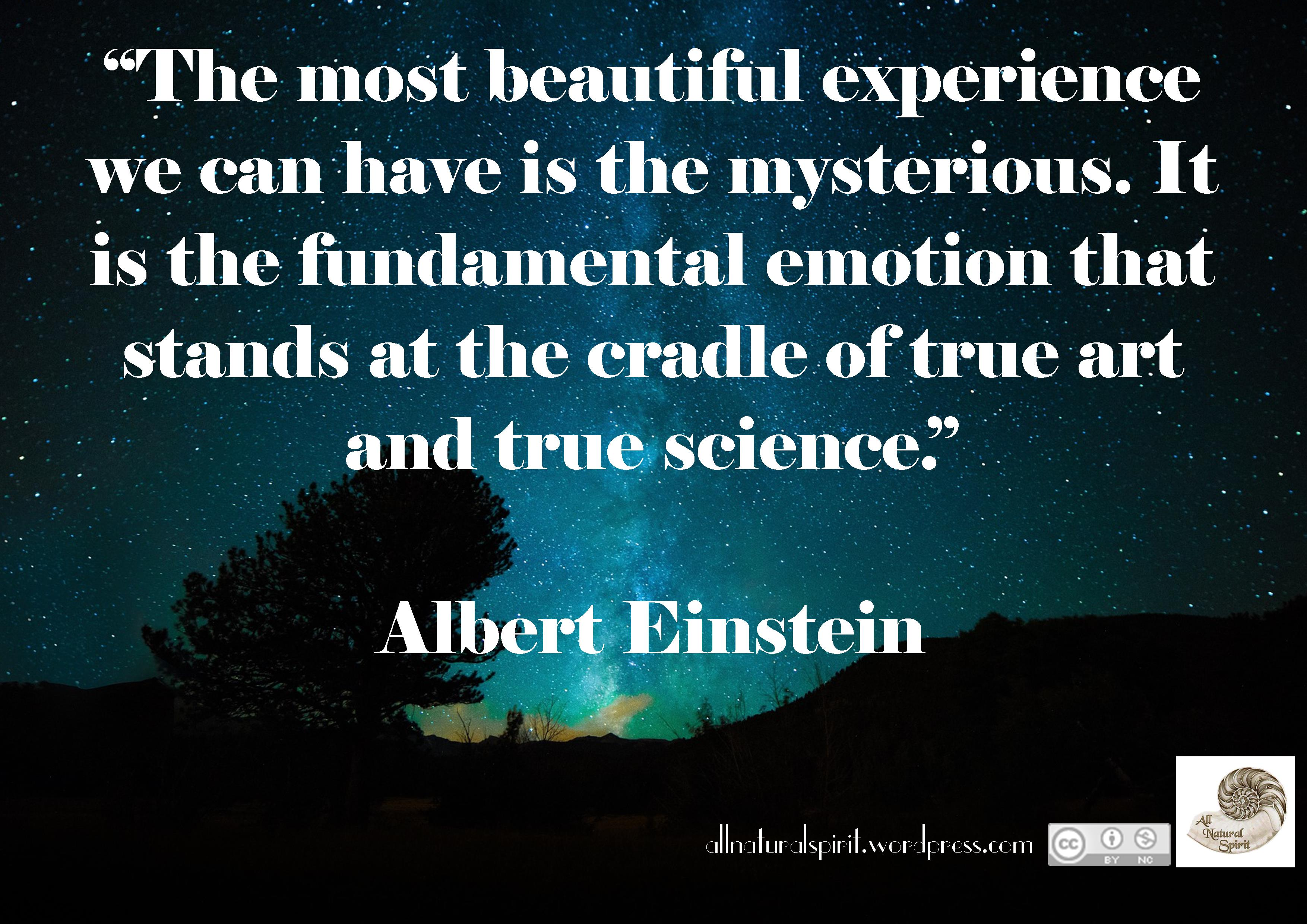Quote Albert Einstein Mystery Mysterious Science Art