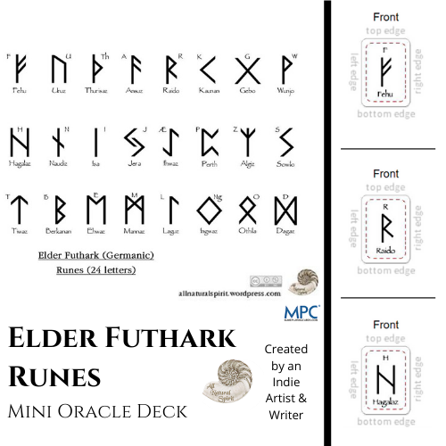 Micro, Small, Germanic, Viking, Norse, Oracle, Spiritual, Divination, Script, Travel, All Natural Spirit, Rune, Elder Futhark, Runes, Mini, Card, Deck, Oracle, Bind, Rune, Cards, Make Playing Cards