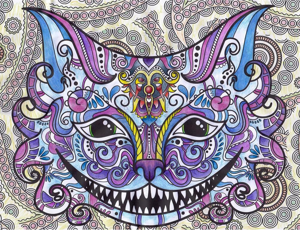 Cheshire, Cat, Alice In Wonderland, Fauna, Animal, Art, Design, Free, Wallpaper, hand colored, hand coloured, Background, Download, Mobile, Desktop