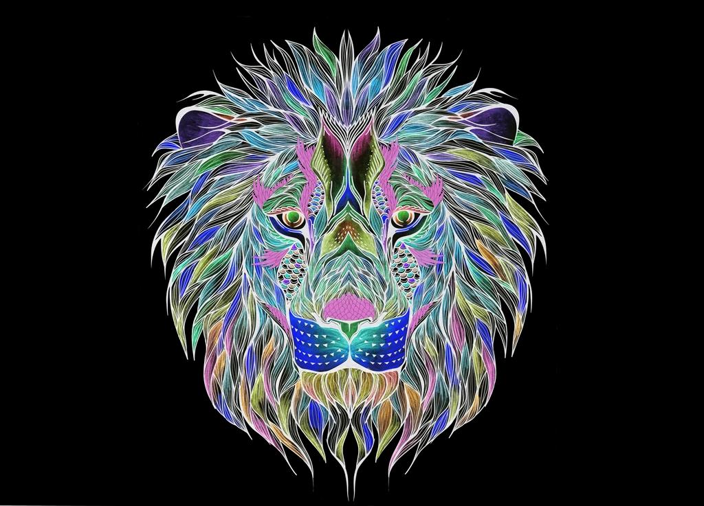 Lion, Invert, Spirit, Fauna, Animal, Art, Design, Free, Wallpaper, hand colored, hand coloured, Background, Download, Mobile, Desktop