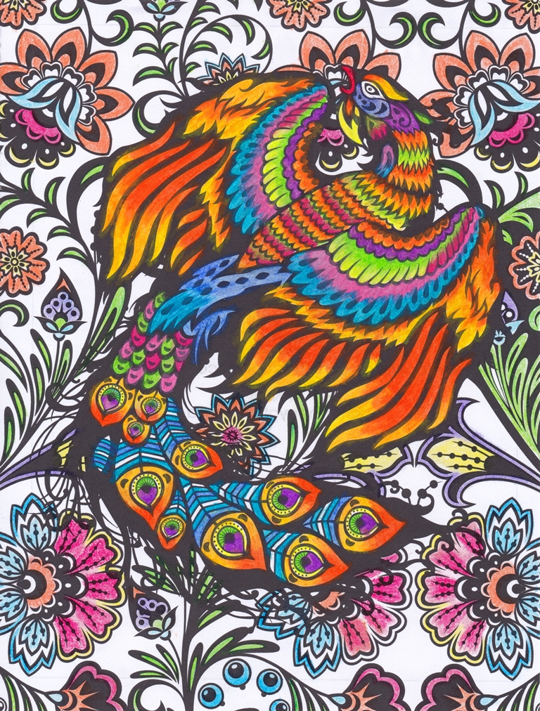 Phoenix, Peacock, Bird, Paradise, Mythology, Animal, Flowers, Art, Design, Free, Wallpaper, hand colored, hand coloured, Background, Download, Mobile, Desktop