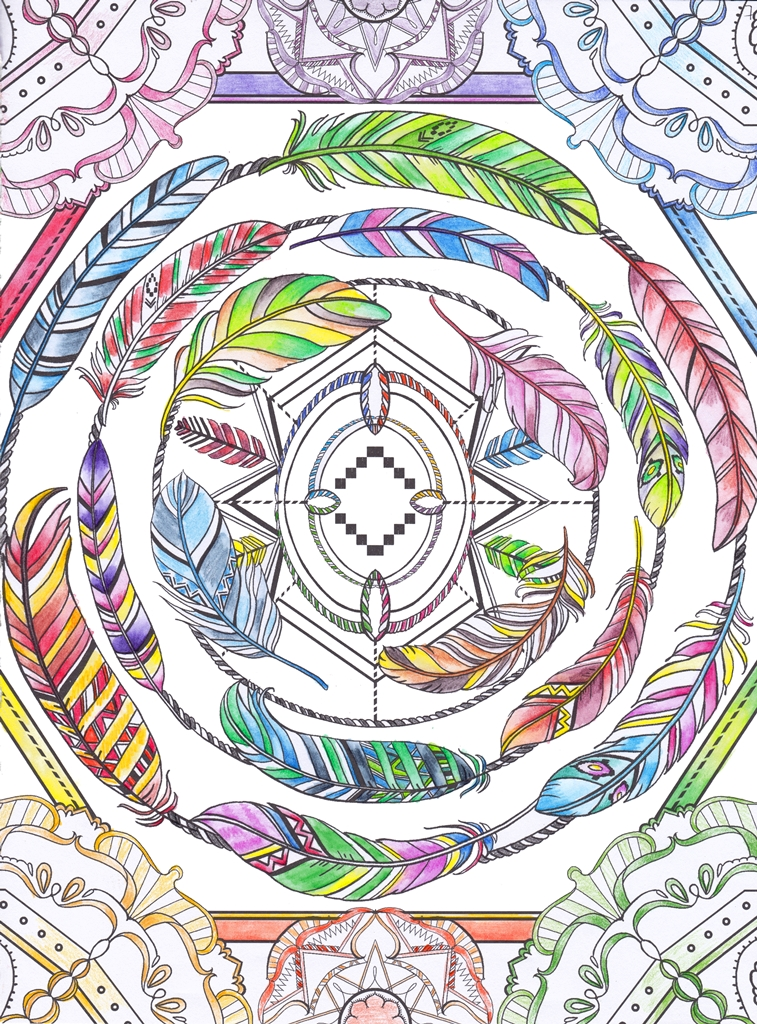 Feathers, Swirl, Mandala, Art, Design, Free, Wallpaper, hand colored, hand coloured, Background, Download, Mobile, Desktop