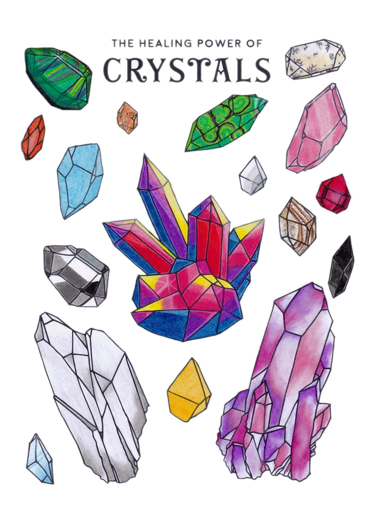 Crystal, Healing, Study, Art, Design, Free, Wallpaper, hand colored, hand coloured, Background, Download, Mobile, Desktop