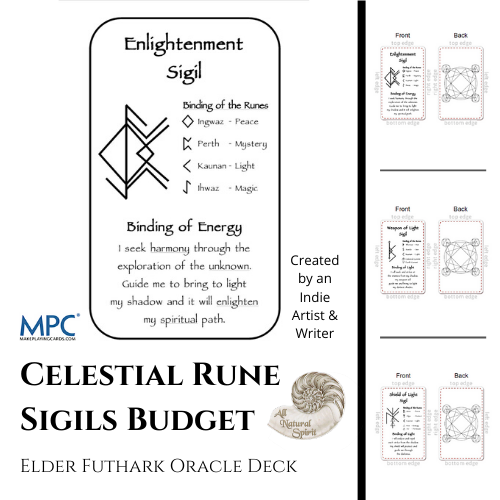 Celestial Bindrune Sigils, Elder, Futhark, bindrune, Anglo, Saxon, Frisian, Viking, Norse, Germanic, Scandinavian, Divination, Oracle, Deck, Cards, Metaphysician, Toolbox, Magick, Galdur, Budget Option, Bind, Rune, Make Playing Cards, All Natural Spirit