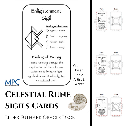 Celestial Bindrune Sigils, Elder, Futhark, bindrune, Anglo, Saxon, Frisian, Viking, Norse, Germanic, Scandinavian, Divination, Oracle, Cards, Metaphysician, Toolbox, Magick, Galdur, Cards Only Option, Bind, Rune, Make Playing Cards, All Natural Spirit