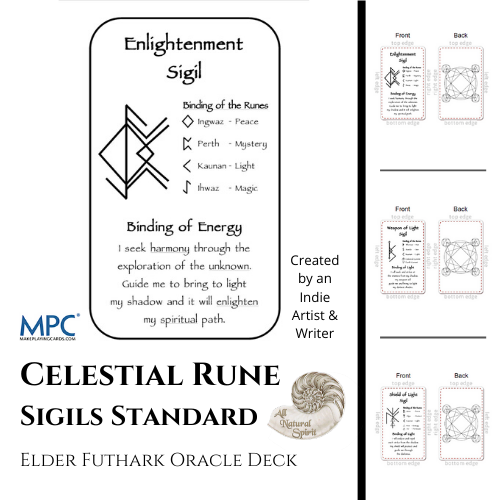 Celestial Bindrune Sigils, Elder, Futhark, bindrune, Anglo, Saxon, Frisian, Viking, Norse, Germanic, Scandinavian, Divination, Oracle, Deck, Cards, Metaphysician, Toolbox, Magick, Galdur, Standard Option, Bind, Rune, Make Playing Cards, All Natural Spirit