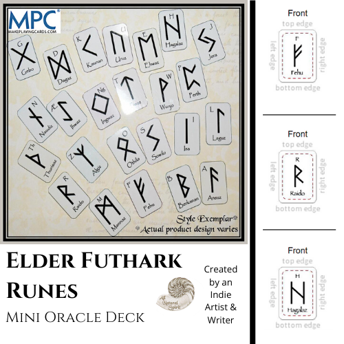 Micro, Small, Germanic, Viking, Norse, Oracle, Spiritual, Divination, Script, Travel, All Natural Spirit, Rune, Elder Futhark, Runes, Mini, Card, Deck, Oracle, Bind, Rune, Cards, Make Playing Cards