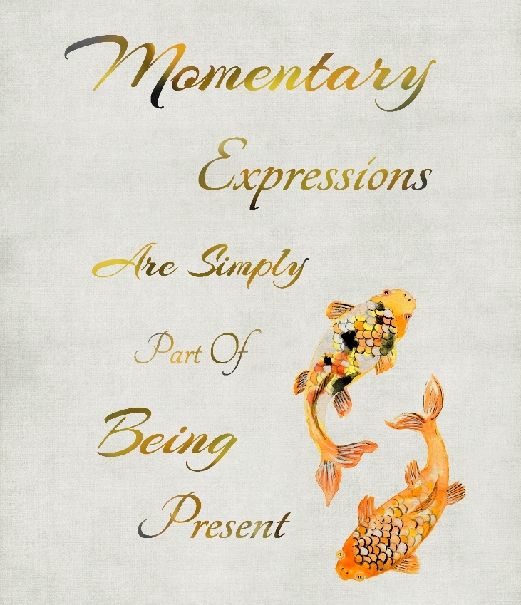 golden, black, orange, yellow, white, inspirational, quote, message, saying, motivational, mindfulness, being present, spiritual, meditation, room, yoga, fish, animal, parchment, Typography, Japanese, Chinese, Brush, Painting, watercolour,