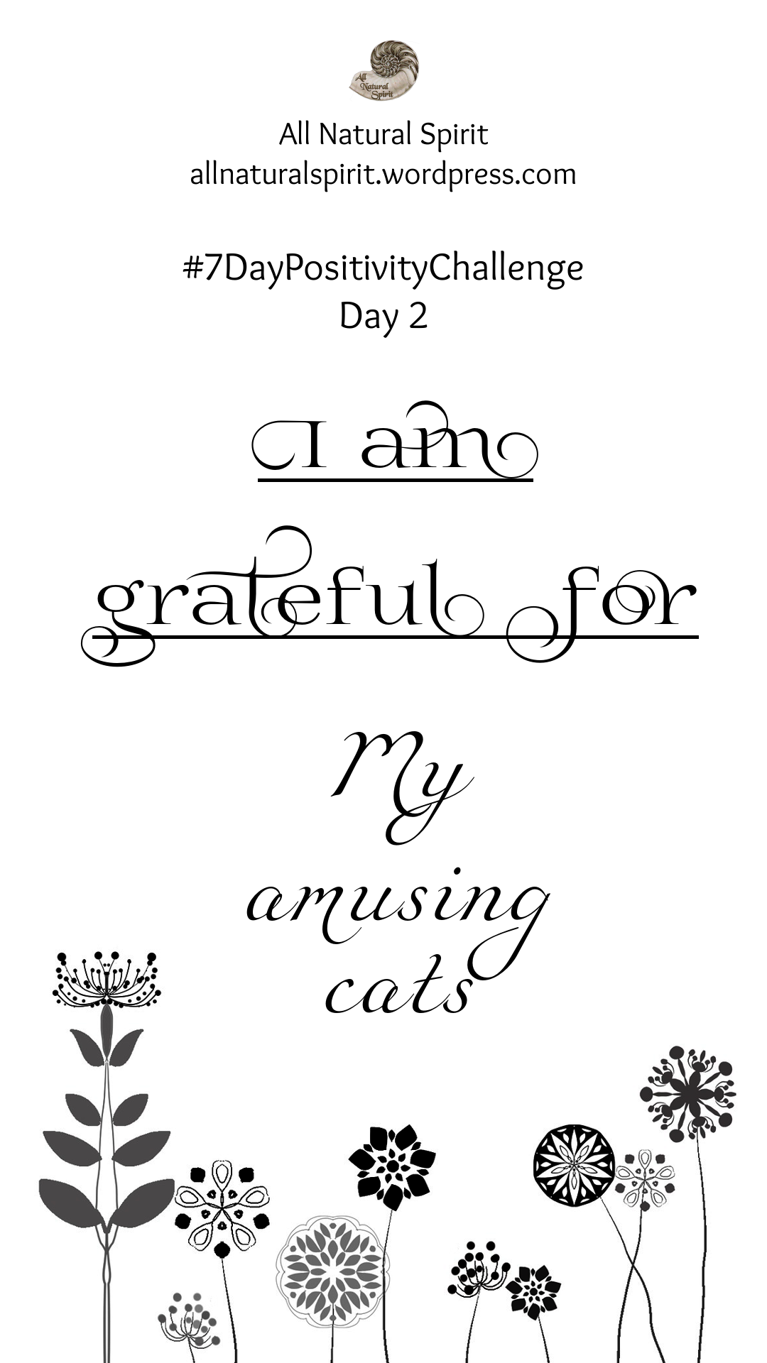 All Natural Spirit, 7 Day Positivity Challenge, Grateful, Gratefulness, Day 2, allnaturalspirit.wordpress.com, mindfulness, typography, flowers, cats