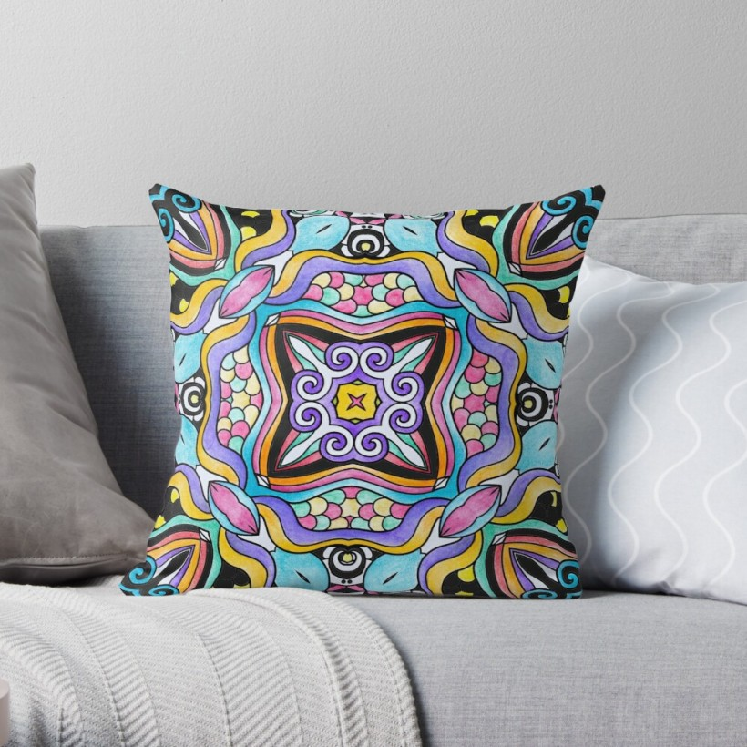 abstract, pattern, moroccan, tile, art, throw pillow
