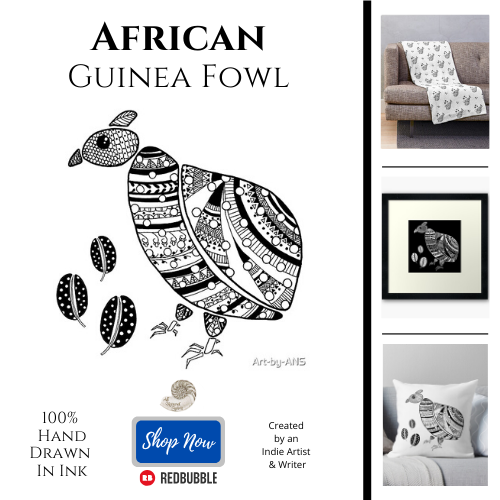 African, Guinea Fowl, All Natural Spirit, RedBubble, tribel, ethnic, line art, line drawing, henna, pattern, geometry, black, white, bird, animal, nature, home decor, throw pillow, framed art print, throw blanket,