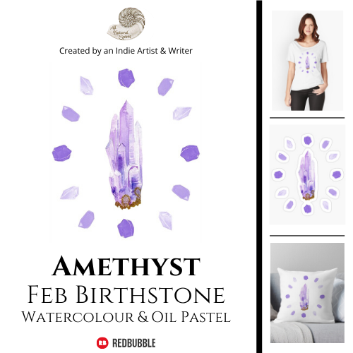 Amethyst, February, Birthstone, All Natural Spirit, RedBubble, Crystal, Art, Product, Birthday, Gifts for Her, Home Decor, Throw Pillow, Framed Print, Sticker