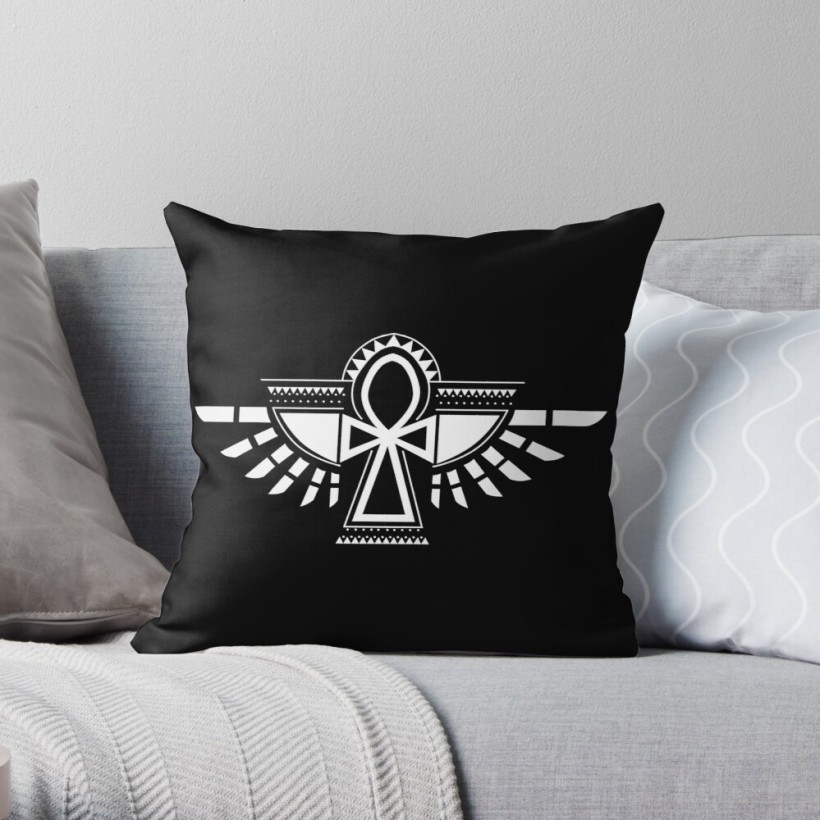 egyptian, egypt, amulet, heiroglyph, symbol, ankh, wings, art, throw pillow