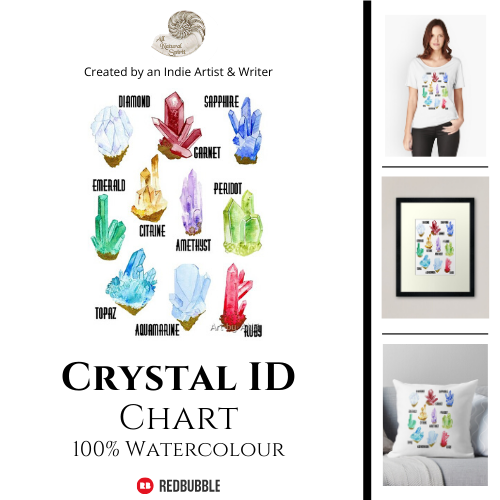 Crystal, Identification, Chart, Names, Raw, Points, All Natural Spirit, RedBubble, Art, Watercolour, Birthstones, Diamond, Sapphire, Emerald, Citrine, Garnet, Peridot, Amethyst, Topaz, Aquamarine, Ruby, Gemstones