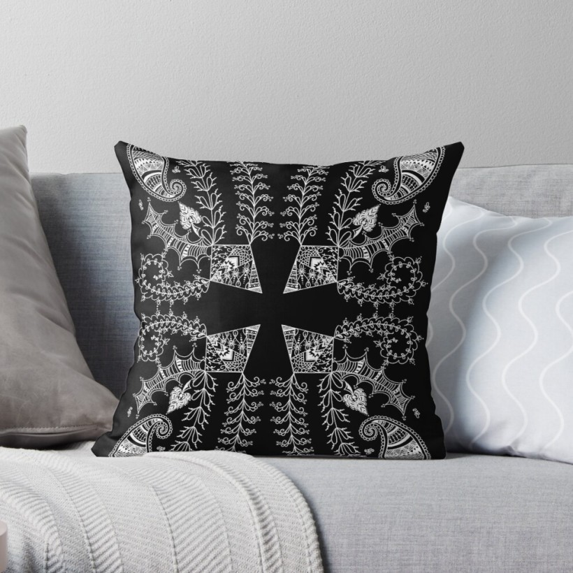 abstract, henna, garden, throw pillow, line art