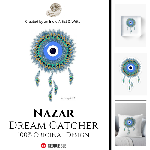 Nazar, Dream Catcher, Protection, Ward, Talisman, Symbol, Evil Eye, Peacock, Feathers, Art, All Natural Spirit, RedBubble, Art-by-ANS