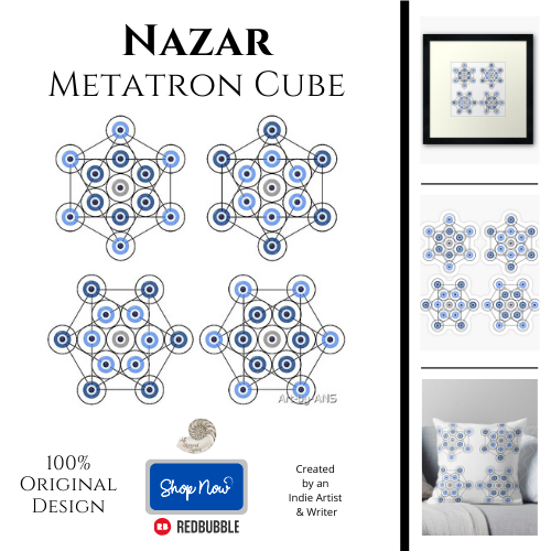 nazar, metatron cube, protection, protective, symbol, evil eye, digital, ward, all natural spirit, redbubble