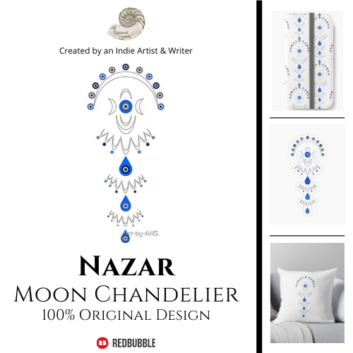 nazar, moon, triple goddess, number 3, protection, protective, symbol, evil eye, ward, All Natural Spirit, RedBubble