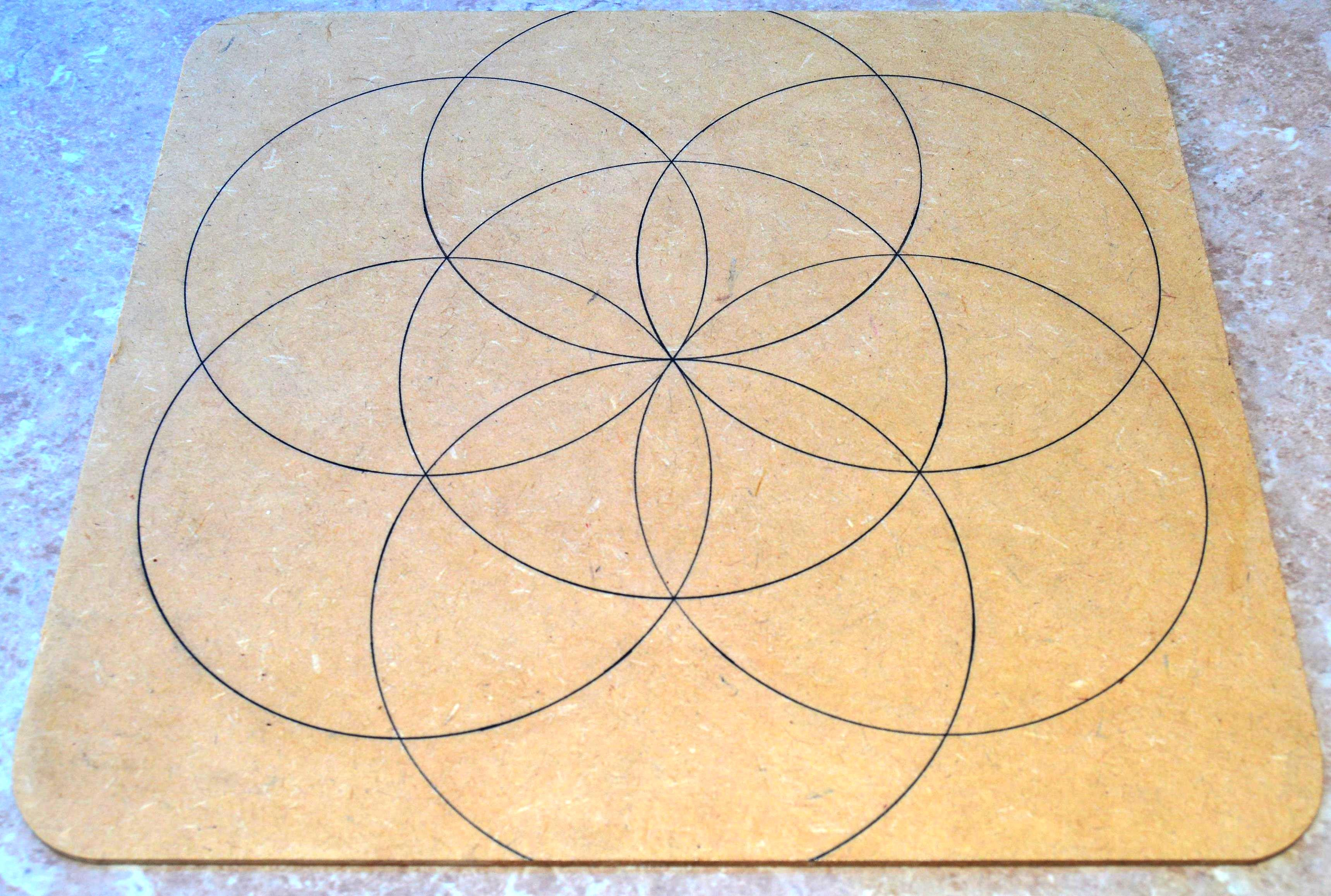All Natural Spirit Hand Inked Crystal Grid Seed of Life