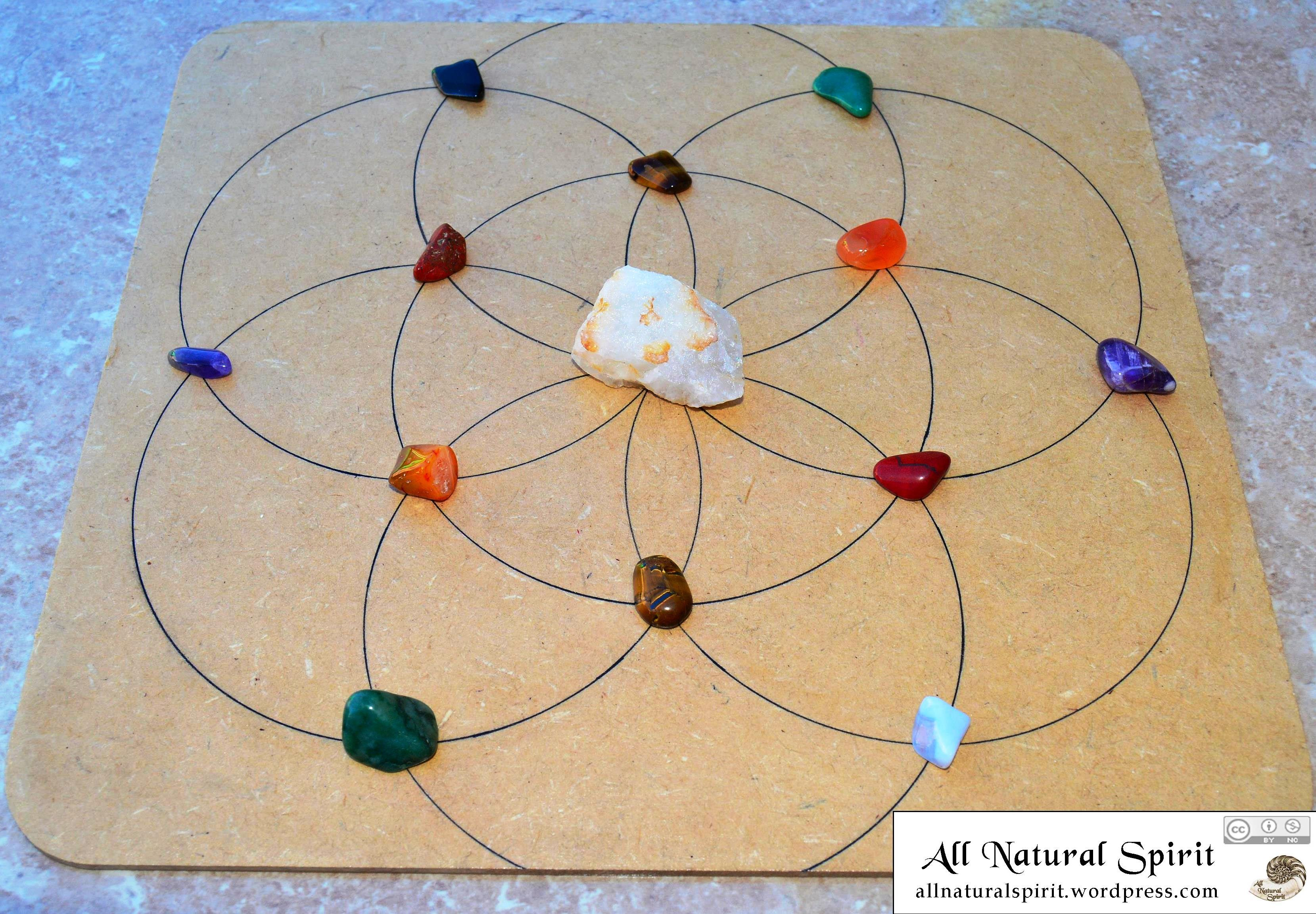 All Natural Spirit Hand Inked Crystal Grid Flower of Life Chakra