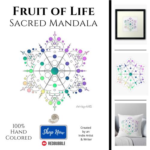 fruit of life, sacred geometry, mandala, art, all natural spirit, art by ans, redbubble, art print, sticker, throw pillow, home decor, crystal grid, metaphysics, spiritual, symbol, wicca, crystal healing