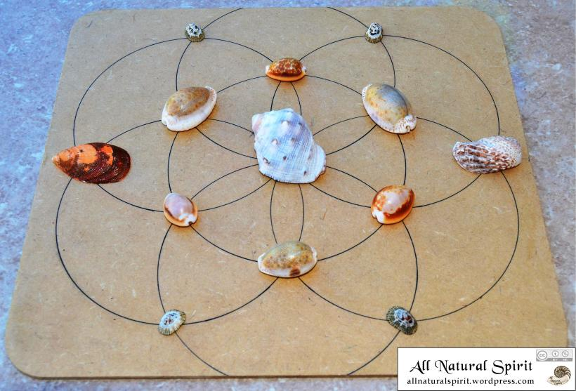 All Natural Spirit Hand Inked Crystal Grid Flower of Life Sea Shell Prosperity