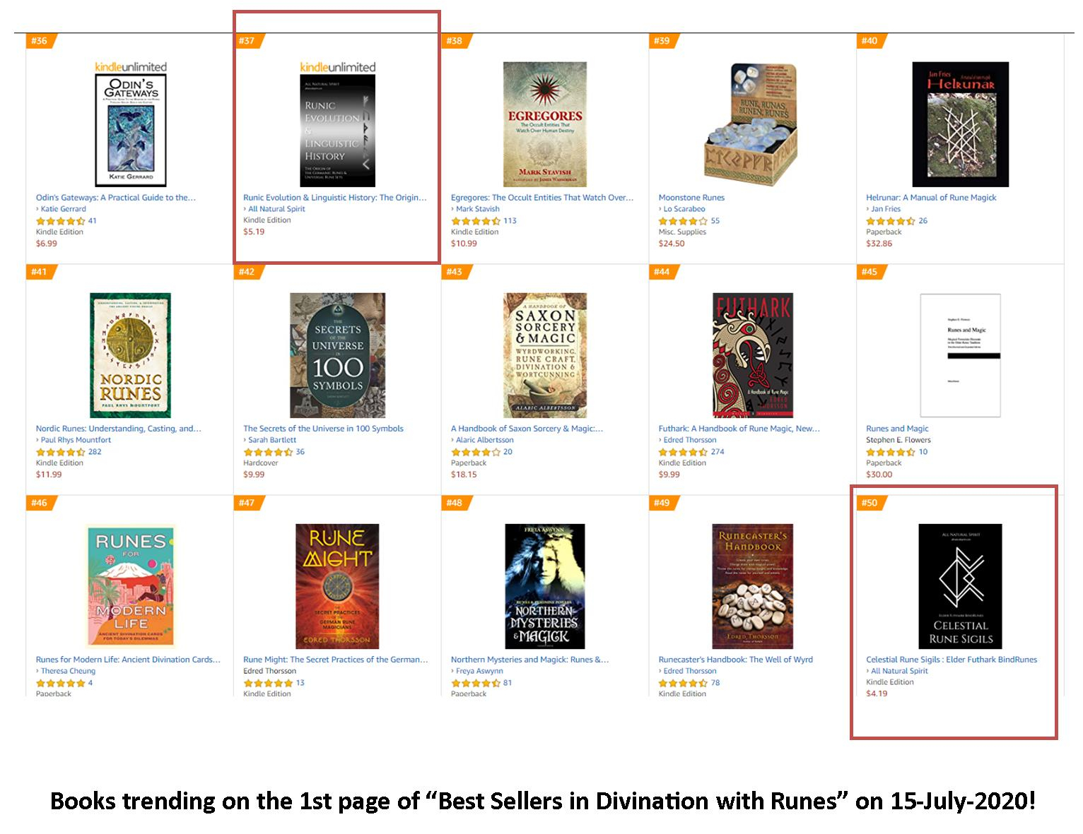 Top 50, Best Sellers, Amazon, Divination with Runes, eBook, Kindle, Paperback, Runic Evolution and Linguistic History, Celestial Rune Sigils, Elder Futhark Bind Runes