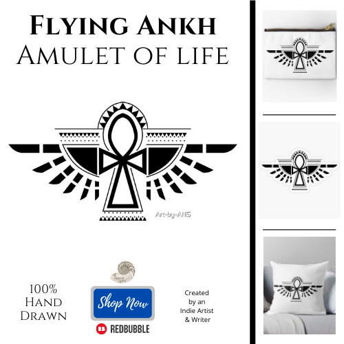 Winged, Amulet of Life, Flying, Ankh, Tattoo, symbol, Egyptian, All Natural Spirit, Art by ANS