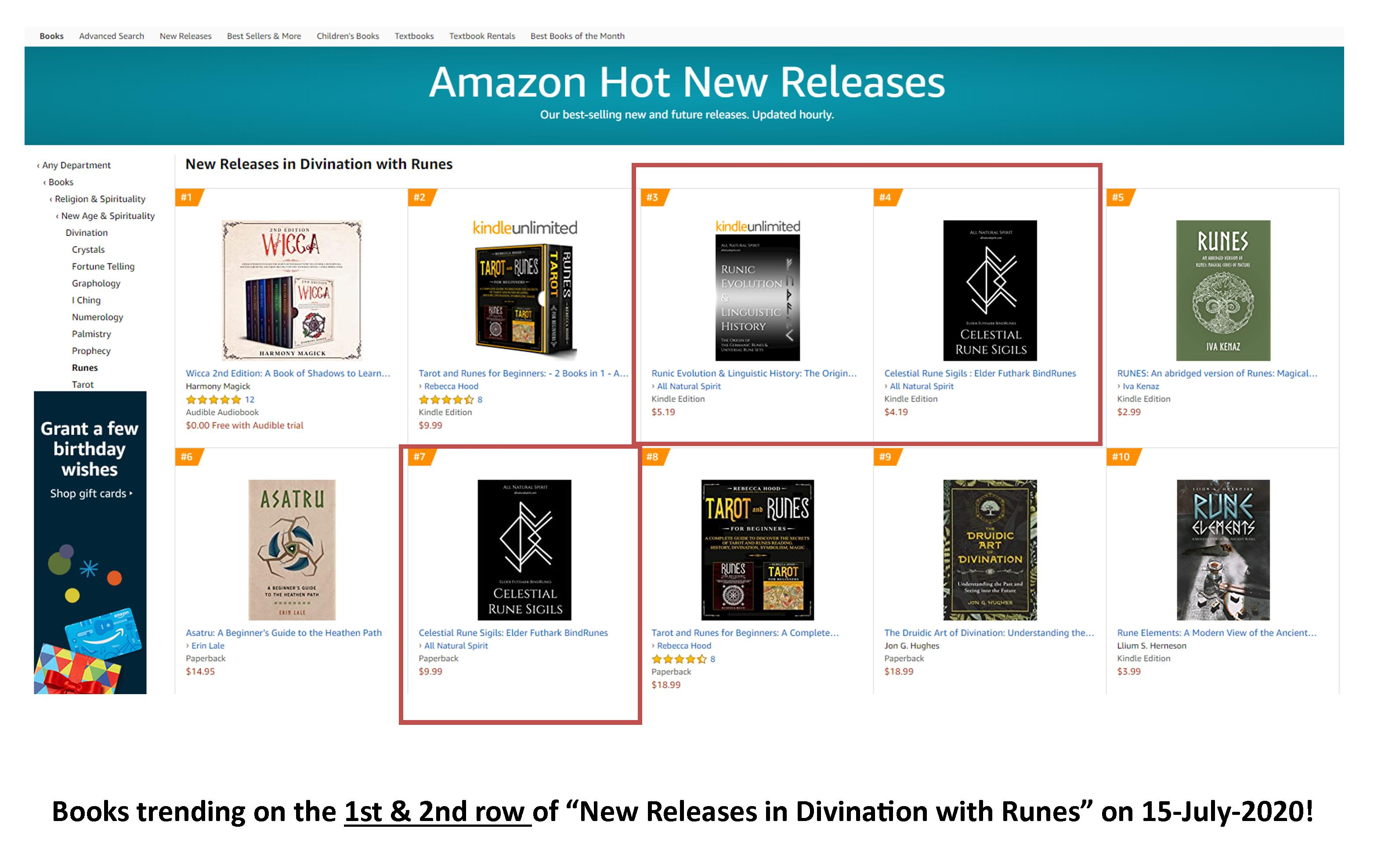 Top 10, Hot New Releases, Amazon, Divination with Runes, eBook, Kindle, Paperback, Runic Evolution and Linguistic History, Celestial Rune Sigils, Elder Futhark Bind Runes