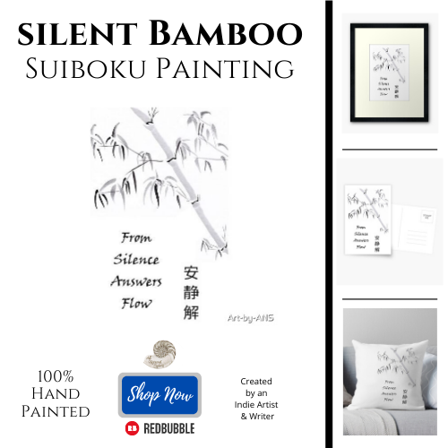 Silent Bamboo Japanese Brush Painting Product Showcase, Throw Pillow, Framed Artwork, Postcard, Art, Zen
