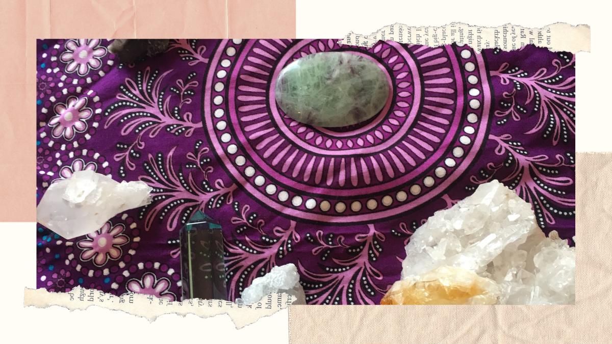 crystals, cloth, altar, arrangement, quartz, stones, gem