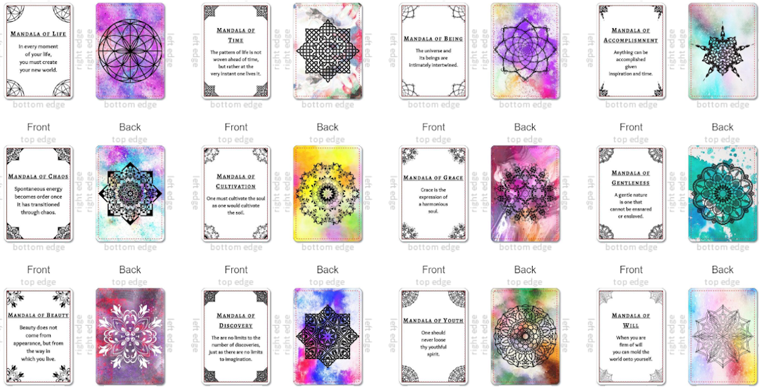 Meditation, Mandalas, Oracle, Cards, Deck, Inspirational, Motivational, Zen, Quotes, Mindfulness, Art Therapy, Stress Management