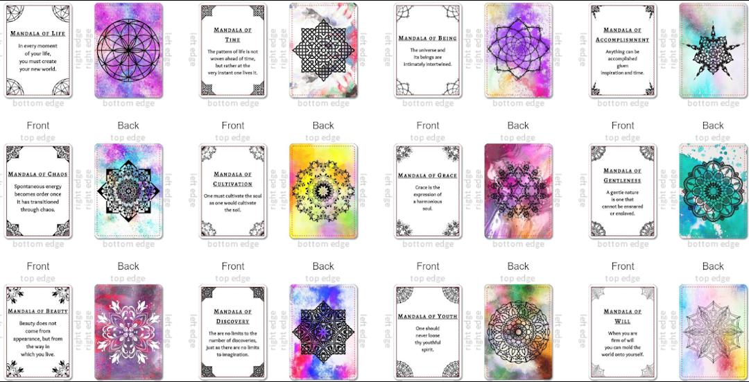 Meditation, Mandalas, Oracle, Cards, Deck, Inspirational, Motivational, Zen, Quotes, Mindfulness, Art Therapy, Stress Management