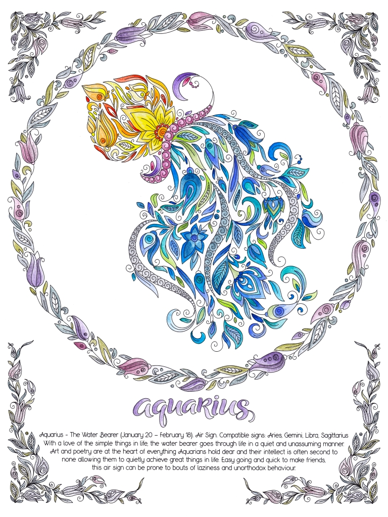 aquarius, january, february, zodiac, 2021, horoscope, astrology, water bearer, pot, water, flowers, air