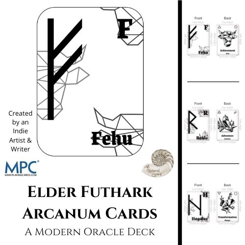 Elder Futhark, Arcanum, Oracle, Deck, All Natural Spirit, Runes, Norse, Viking, Fehu, Ingwaz, Ehwaz, Modern, Abstract, Geometric, Black and White, Reinterpretation, Meaning, Symbol, Properties, Magic, Cards, Spirit Animal, Herbology, Symbolism, New, Reimagining, Cards Only
